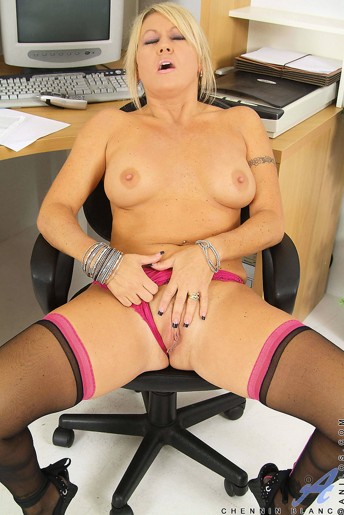 Assistant boss breasts spread her legs